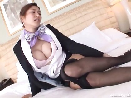 Ripping off pantyhose of a Akari Asahina who has just landed