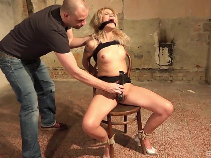 Submissive Angel Diamonds enjoys sex games while she is tied and horny