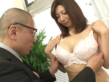 After she takes her clothes off Sayuri gets her hairy cunt pleased