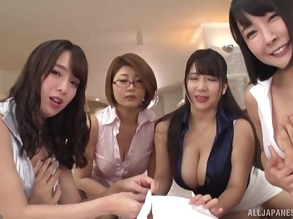 Lucky dude enjoys amazing blowjob by four busty Japanese ladies