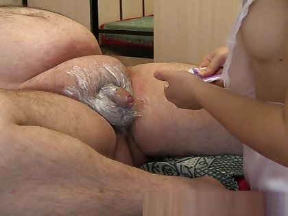 young nurse shaves dick sucks fat old man's dick getting cum in mouth