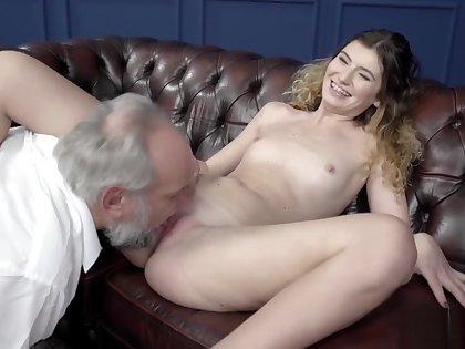 Candice fucks Old Man and swallows cum
