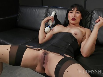 Asian whore mother country unstinting toys in both holes during a rare solo