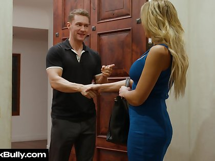 Whore wife Sophia Deluxe sucks boss's cock of husband's publicity