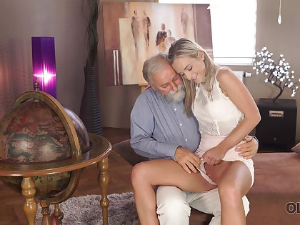 Old man wants to see Shanie Ryan's pussy and turn this way downcast girl is little short of shy
