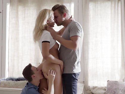 Scenes of merciless threesome for young Cherry Kiss