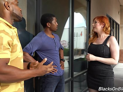 Curvaceous namby-pamby milf Lauren Phillips is fucked hard by two hot blooded blackguardly guys